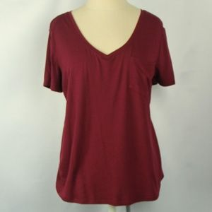 So Relaxed Fit Burgundy V-Neck Pocket Tee Shirt